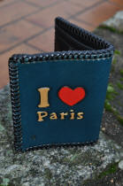 Porte-cartes en cuir motif I love paris
